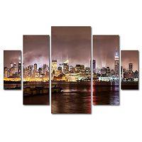 Trademark Fine Art ''Midtown Manhattan Over Hudson River'' 5 pc Wall Art Set