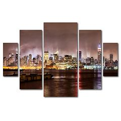 Trademark Fine Art ''Midtown Manhattan Over Hudson River'' 5 pc Wall Art Set