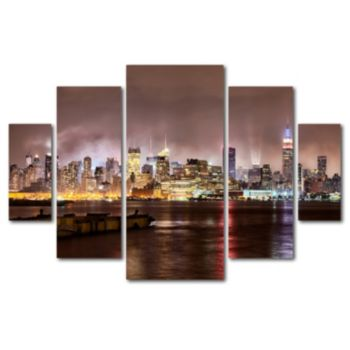 Trademark Fine Art ''Midtown Manhattan Over Hudson River'' 5-pc. Wall Art Set