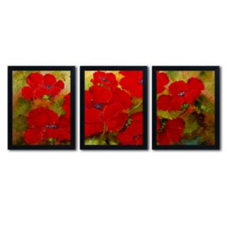 Trademark Fine Art ''Poppies'' 3-pc. Framed Wall Art
