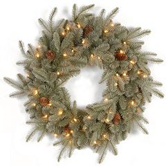 24 in Pre-Lit ''Feel Real'' Frosted Pinecone Artic Spruce Artificial Wreath