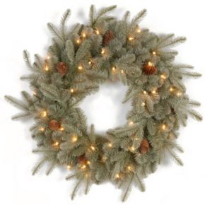 24-in. Pre-Lit ''Feel Real'' Frosted Pinecone Artic Spruce Artificial Wreath