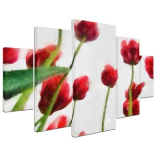 Trademark Fine Art ''Red Tulips From Bottom Up II'' 5-pc. Wall Art Set