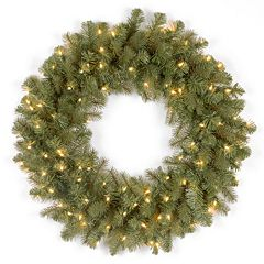 24-in. Pre-Lit ''Feel Real'' Downswept Douglas Artificial Wreath