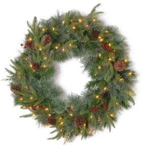 30-in. Pre-Lit ''Feel Real'' Berry & Pinecone Colonial Artificial Wreath