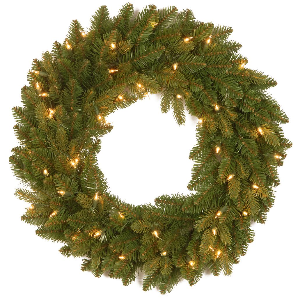 24-in. Pre-Lit ''Feel Real'' Avalon Spruce Artificial Wreath