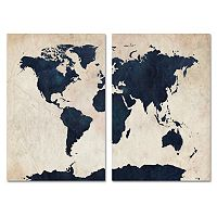 Trademark Fine Art ''World Map'' 2-pc. Wall Art Set