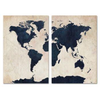 Trademark Fine Art ''World Map'' 2-pc. Wall Art Set