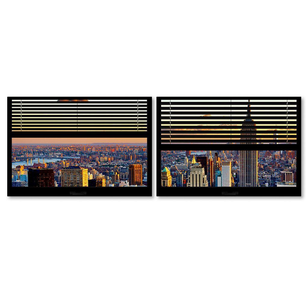 Trademark Fine Art ''Window View NYC Sunset 4'' 2-pc. Framed Wall Art