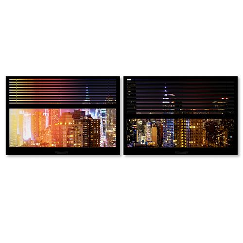 Trademark Fine Art ''Window View Manhattan Night 3'' 2-pc. Framed Wall Art Set