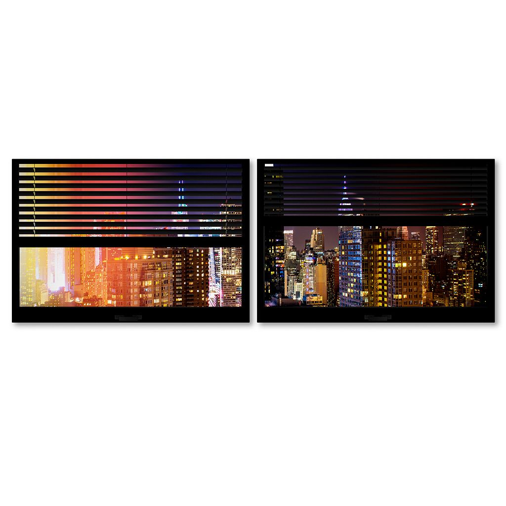 Trademark Fine Art ''Window View Manhattan Night 4'' 2-pc. Framed Wall Art Set