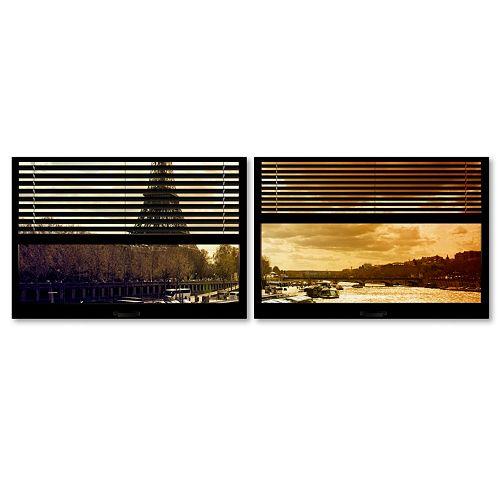 Trademark Fine Art ''Window View Paris At Sunset 3'' 2-pc. Framed Wall Art Set
