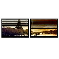 Trademark Fine Art ''Window View Paris At Sunset 4'' 2-pc. Framed Wall Art Set