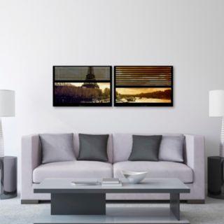 Trademark Fine Art ''Window View Paris At Sunset 4'' 2-pc. Framed Wall Art Set