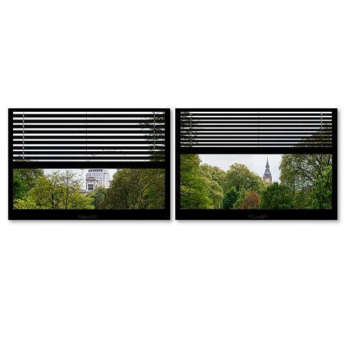 Trademark Fine Art ''Window View London Park 3'' 2-pc. Framed Wall Art Set