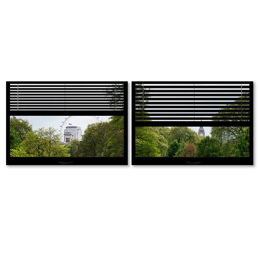 Trademark Fine Art ''Window View London Park 4'' 2-pc. Framed Wall Art Set