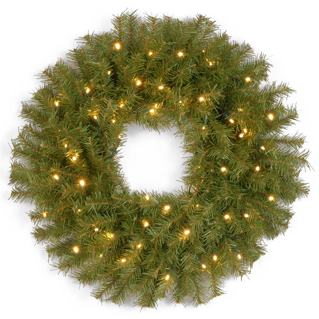 24-in. Pre-Lit LED Norwood Fir Artificial Wreath