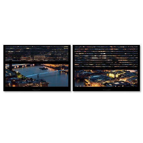 Trademark Fine Art ''Window View London By Night 3'' 2-pc. Framed Wall Art Set