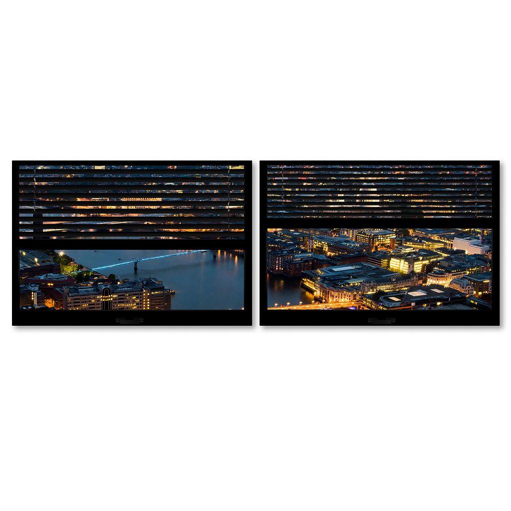 Trademark Fine Art ''Window View London By Night 4'' 2-pc. Framed Wall Art Set