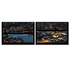 Trademark Fine Art ''Window View London By Night 4'' 2 pc Framed Wall Art Set