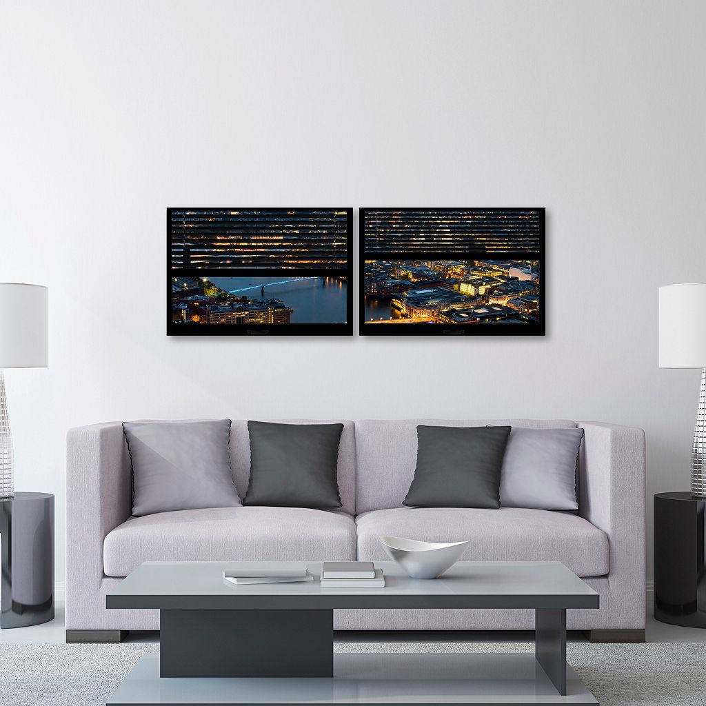 Trademark Fine Art ''Window View London By Night 4'' 2-pc. Framed Wall Art Set