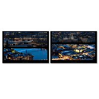 Trademark Fine Art ''Window View London By Night 8'' 2 pc Framed Wall Art Set