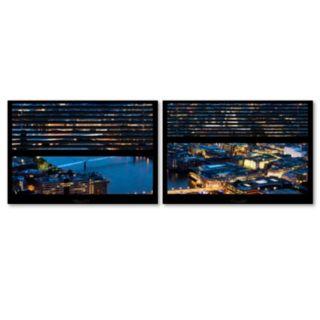 Trademark Fine Art ''Window View London By Night 8'' 2-pc. Framed Wall Art Set