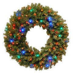 36-in. Pre-Lit Concave Multicolor LED Norwood Fir Artificial Wreath