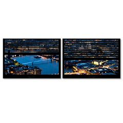 Trademark Fine Art ''Window View London By Night 9'' 2 pc Framed Wall Art Set