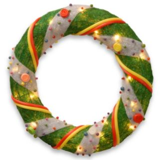 18-in. Pre-Lit Artificial Tinsel Wreath