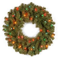 24-in. Pre-Lit Multicolor Kincaid Spruce Artificial Wreath