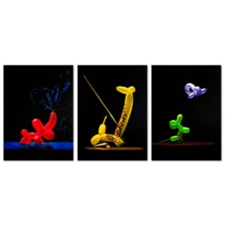 Trademark Fine Art ''Balloon Animals'' 3-piece Canvas Wall Art Set