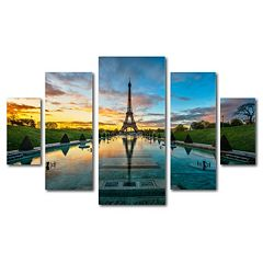 Trademark Fine Art ''Sunrise in Paris'' 5-piece Canvas Wall Art Set