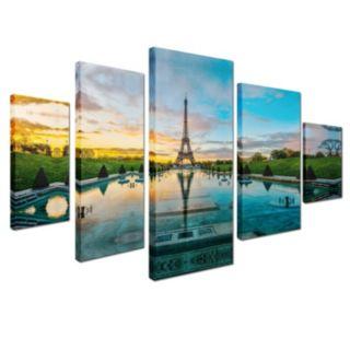 Trademark Fine Art ''Sunrise in Paris'' 5-piece Canvas Wall Art Set