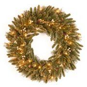 30 in Pre-Lit Glitter Pine Artificial Wreath