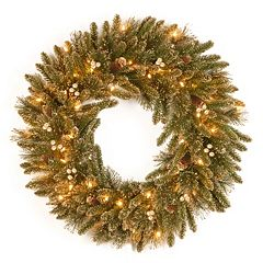 30-in. Pre-Lit Glitter Pine Artificial Wreath