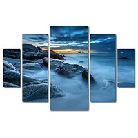 Trademark Fine Art ''Blue Hour for a Blue Ocean'' 5-piece Canvas Wall Art Set