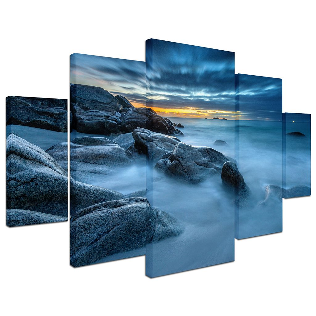 Trademark Fine Art ''Blue Hour for a Blue Ocean'' 5-piece Canvas Wall Art Set