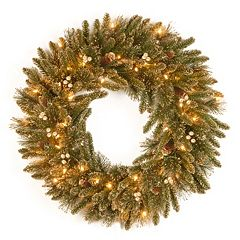 24-in. Pre-Lit Artificial Glitter Pine Wreath