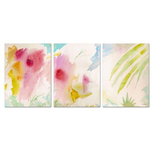 Trademark Fine Art ''Pink Interlude Triptych'' 3-piece Canvas Wall Art Set
