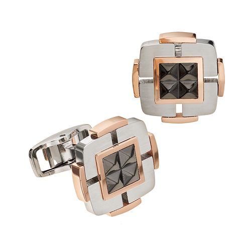 Tri-Tone Stainless Steel Pyramid Cuff Links