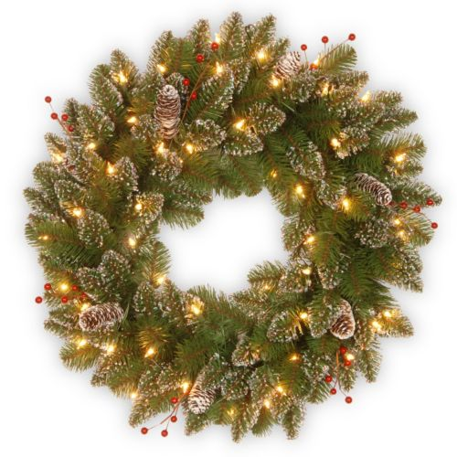 24-in. Pre-Lit Glitter Pinecone & Berry Mountain Spruce Wreath
