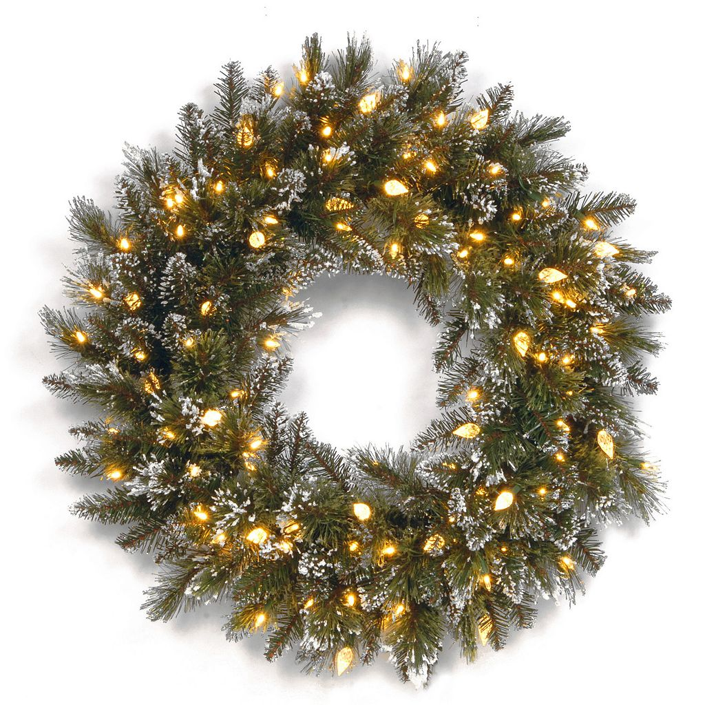 24-in. Pre-Lit LED Artificial Glitter Bristle Pine Wreath