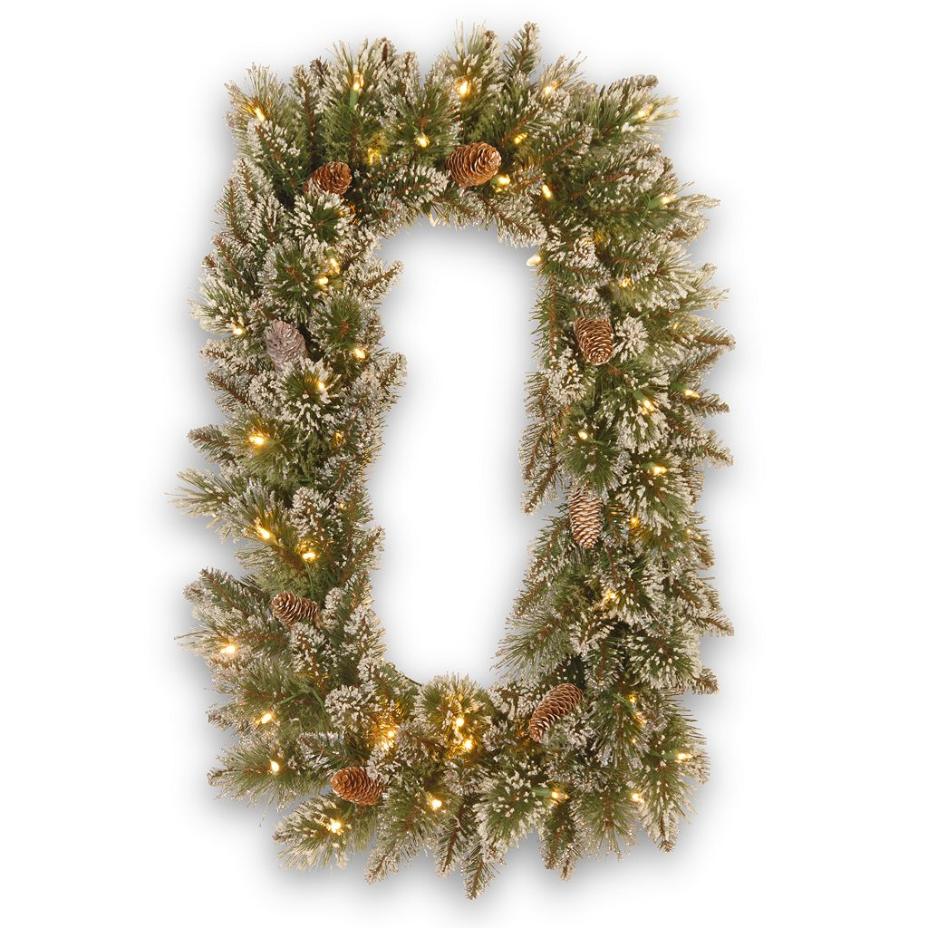 Rectangular Pre-Lit LED Artificial Glitter Pinecone & Bristle Pine Wreath