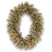 Oval Pre-Lit Artificial Glitter Bristle & Pinecone Pine Wreath