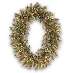 Oval Pre-Lit Artificial Glitter Bristle & Pinecone Pine Wreath