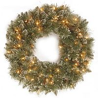 30-in. Pre-Lit Artificial Glitter Bristle Pine Wreath