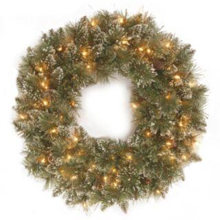 24-in. Pre-Lit Artificial Glitter Bristle Pine Wreath