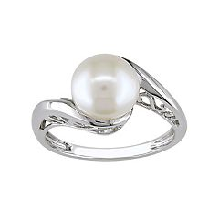 10k White Gold Freshwater Cultured Pearl Bypass Ring