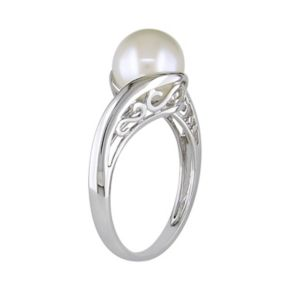 Stella Grace 10k White Gold Freshwater Cultured Pearl Bypass Ring